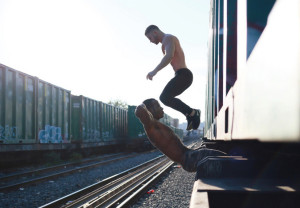men's fitness, topless men working out on train tracks