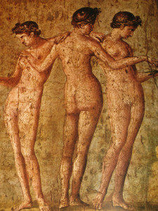 erotic art of pompeii, three woman standing together naked