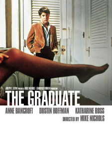 the graduate movie poster, anne bancroft, dustin hoffman, leg with pantyhose