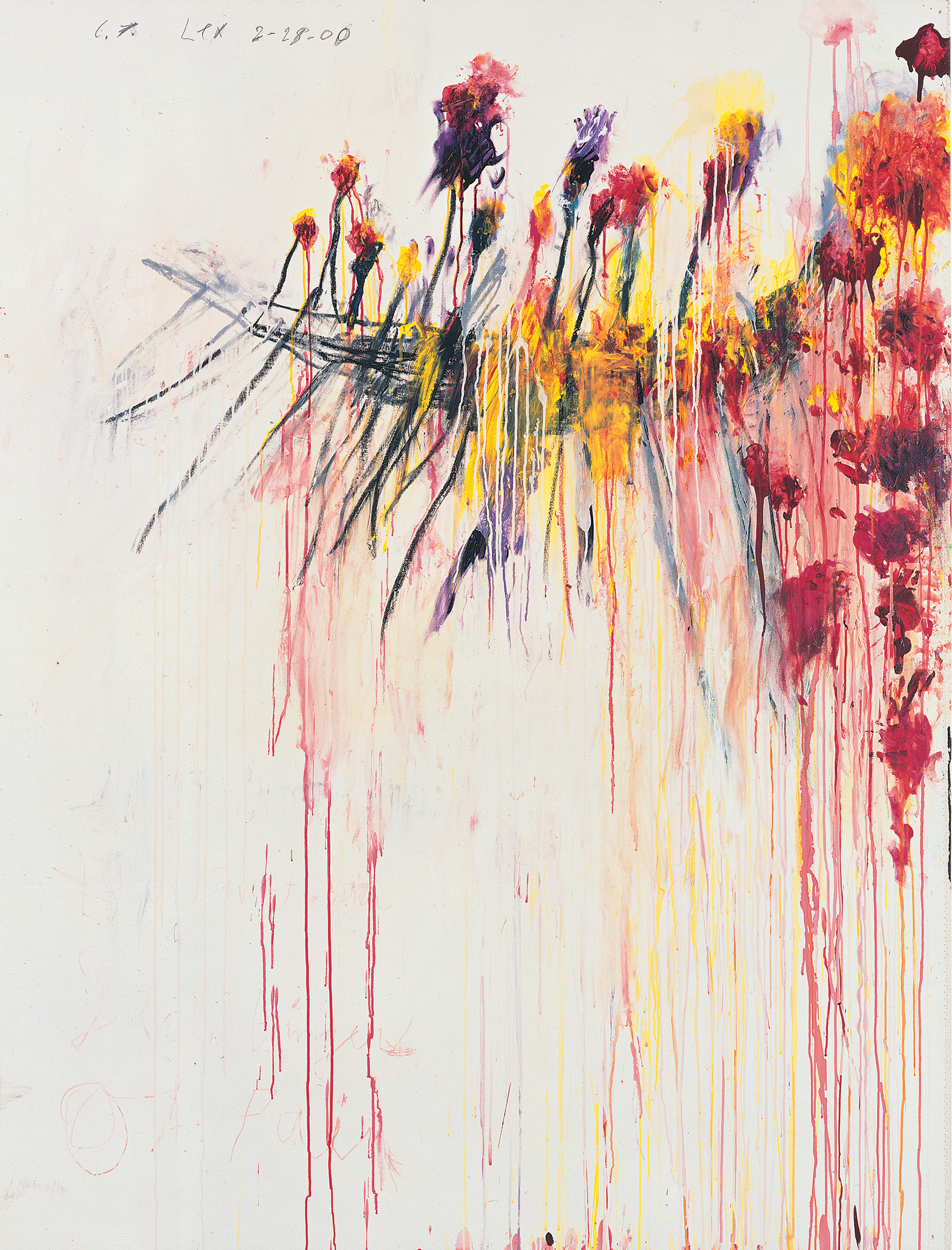 Coronation of Sesostris, Part V (2000), by Cy Twombly. Acrylic, wax crayon and pencil on canvas, 206.1 x 156.5 cm. Pinault Collection. © Pinault Collection / Photo: Robert McKeever.