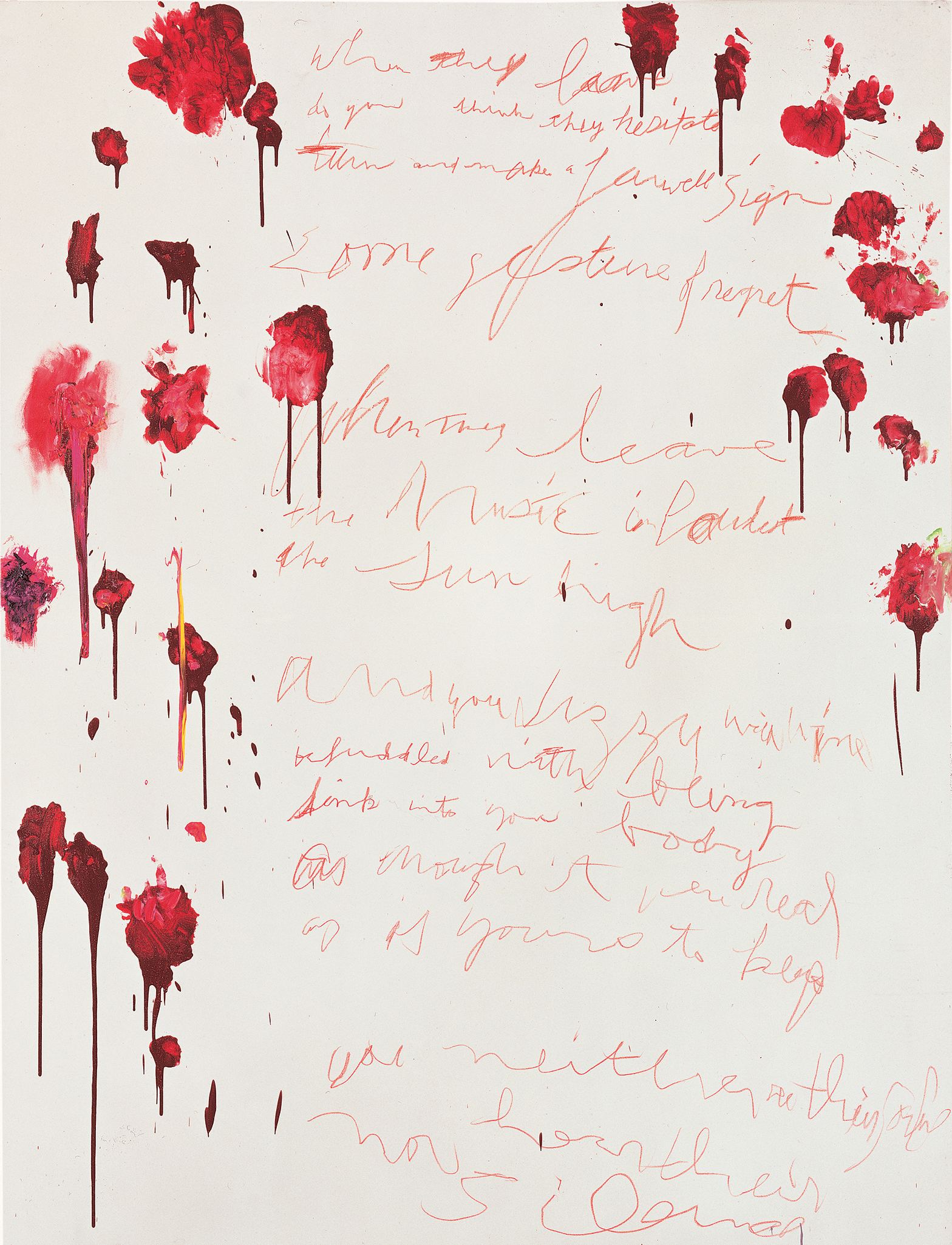 Coronation of Sesostris, Part VI (2000), by Cy Twombly. Acrylic, paint stick, wax crayon and pencil on canvas, 203.7 x 155.6 cm. Pinault Collection. © Pinault Collection / Photo: Robert McKeever.
