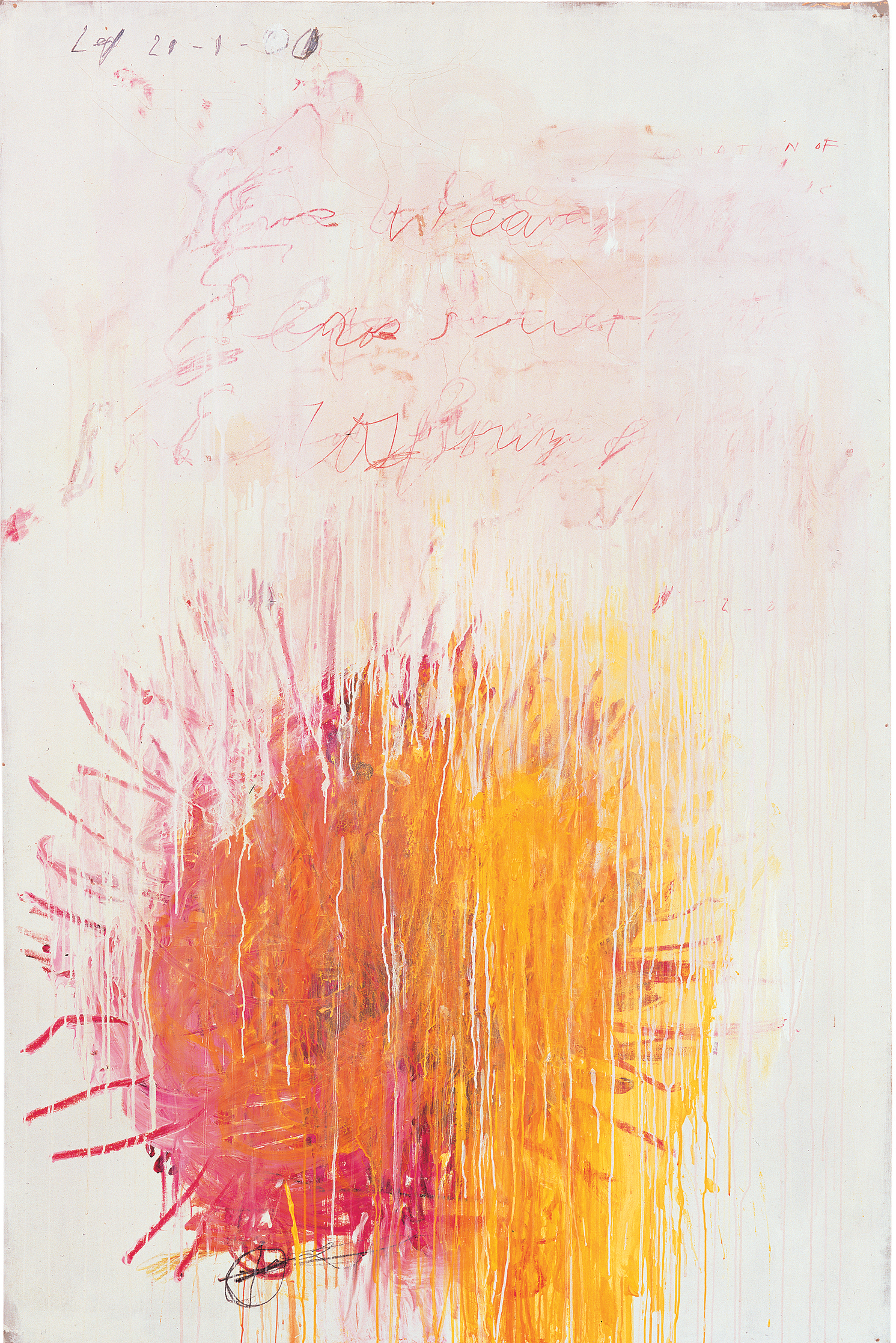 Coronation of Sesostris, Part III (2000), by Cy Twombly. Acrylic, wax crayon and pencil on canvas, 206.1 x 136.5 cm. Pinault Collection. © Pinault Collection / Photo: Robert McKeever.