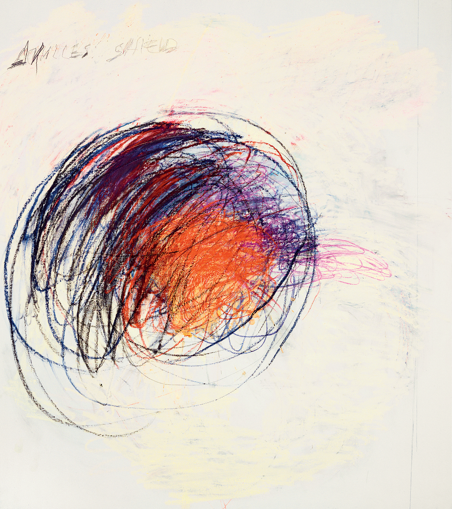 Fifty Days at Iliam Shield of Achilles, Part I (1978), by Cy Twombly. Oil, oil crayon and pencil, 191.8 x 170.2 cm. Philadelphia Museum of Art. © Courtesy of Philadelphia Museum of Art, Philadelphia.