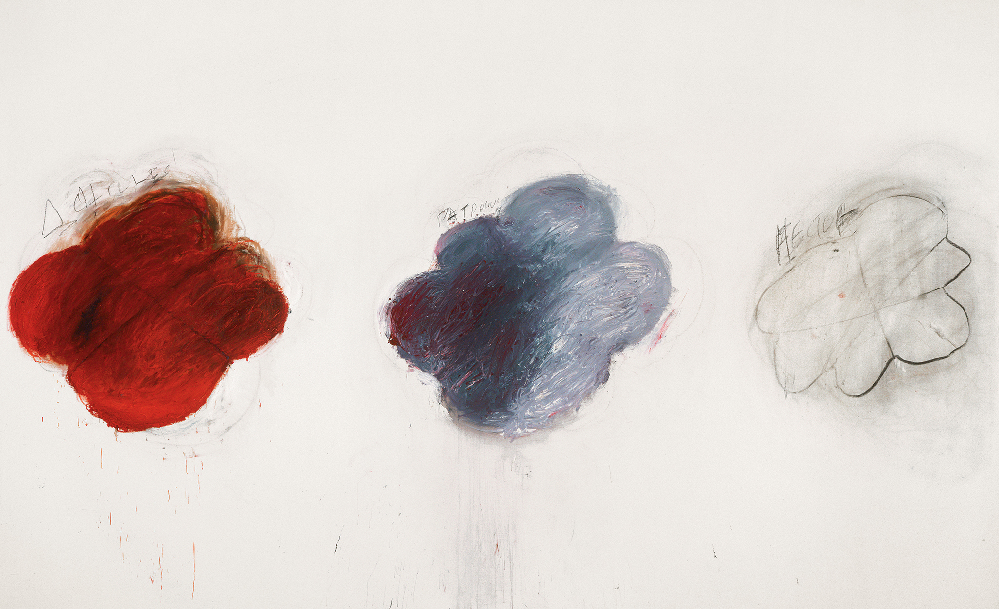 Fifty Days at Iliam Shades of Achilles, Patroclus and Hector, Part VI (1978), by Cy Twombly. Oil, oil crayon and pencil, 299.7 x 491.5 cm. Philadelphia Museum of Art. © Courtesy of Philadelphia Museum of Art, Philadelphia.