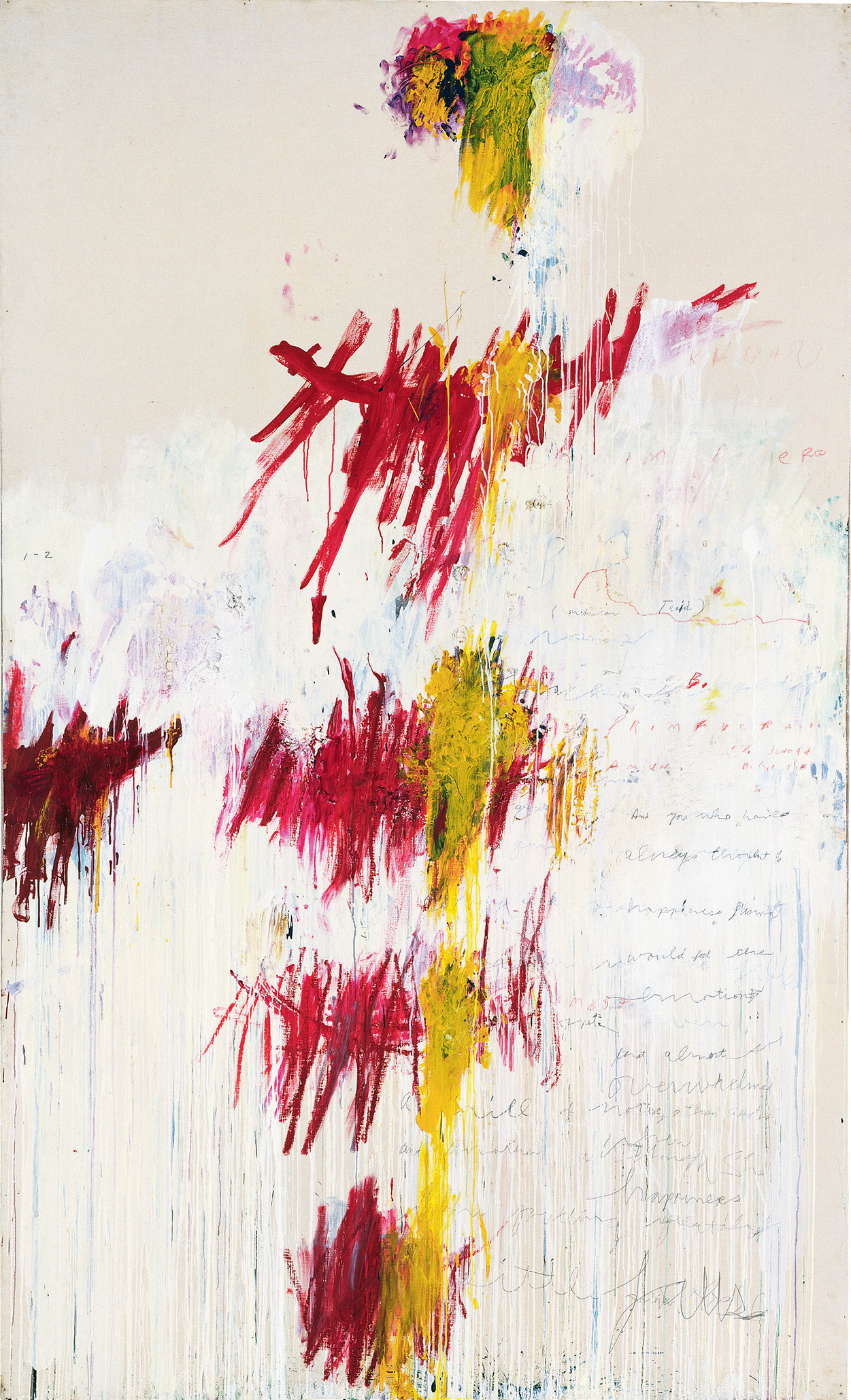Quattro Stagioni: Primavera (1993–95), by Cy Twombly. Acrylic, oil, colored crayon and pencil on canvas, 313.2 x 189.5 cm. Tate, London. © Tate, London 2016.