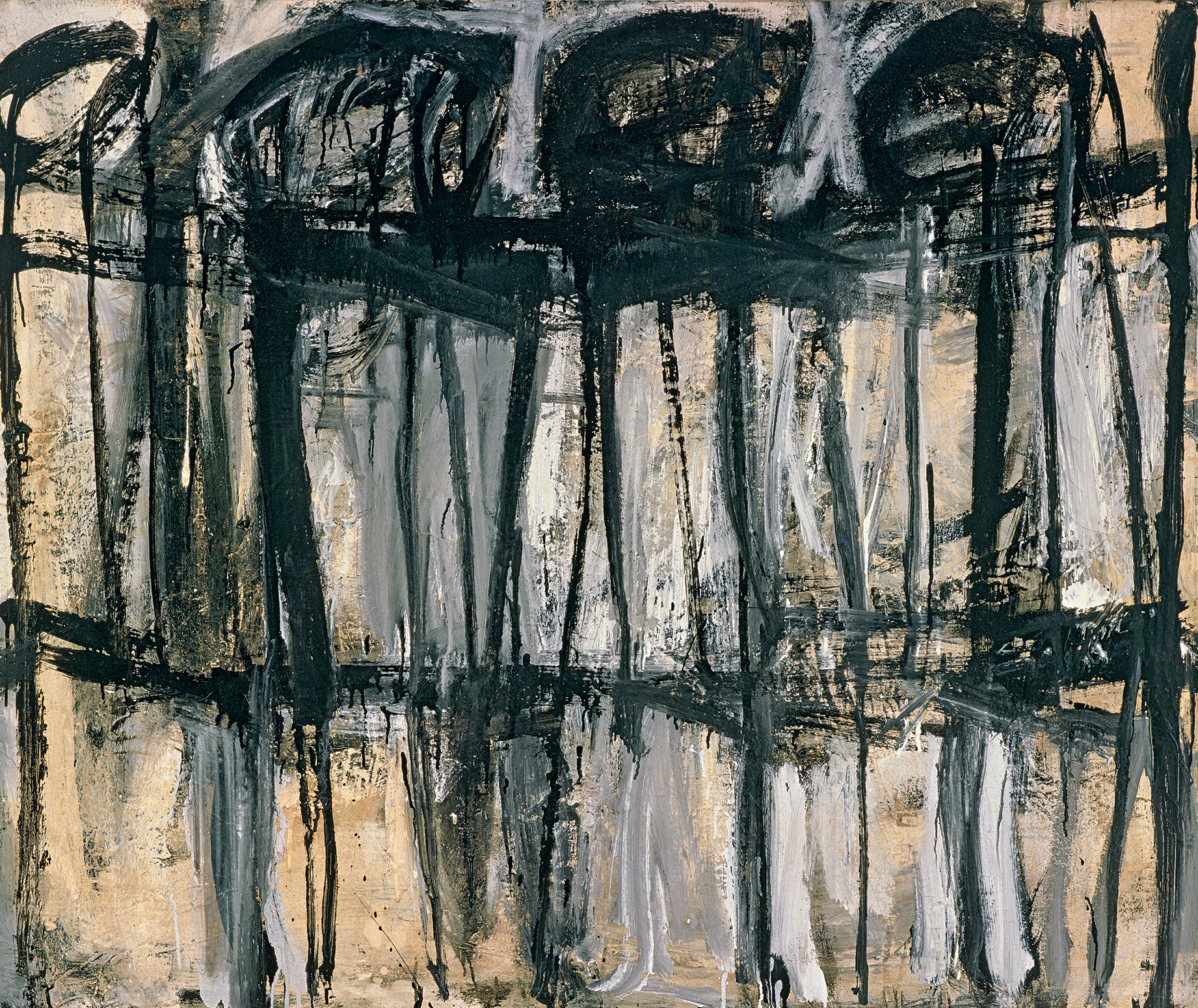 Untitled (Lexington) (1951), by Cy Twombly. Industrial paint on canvas, 101.6 x 121.9 cm. Cy Twombly Foundation. © Cy Twombly Foundation, courtesy Archives Nicola Del Roscio.