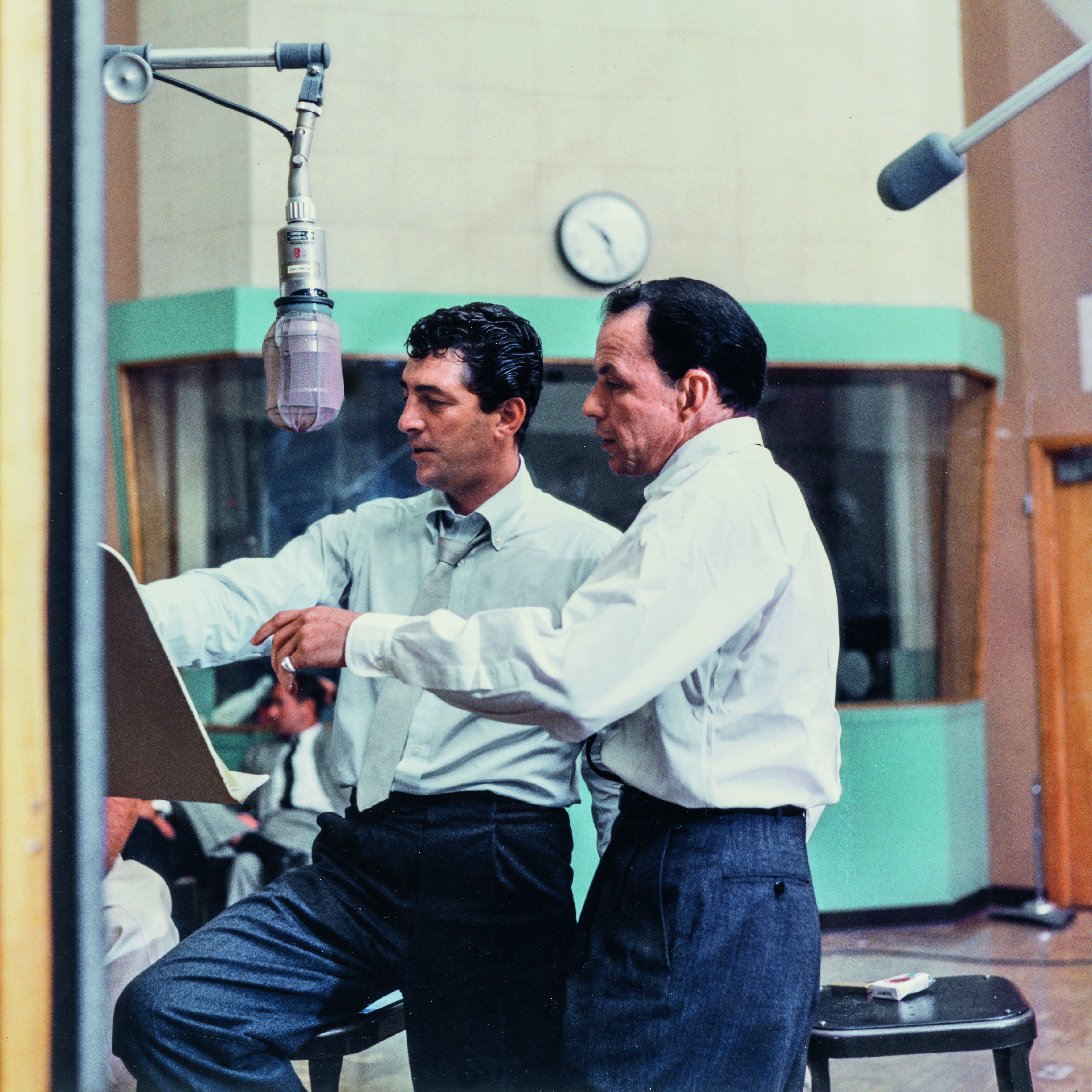 Frank Sinatra and Dean Martin at the sessions for Martin's Sleep Warm LP. Ken Veeder, Capitol Tower Studio B, October 1958. © Capitol Photo Archives.