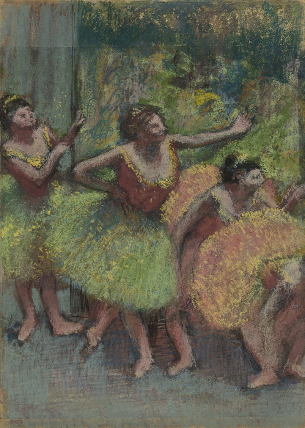 Dancers in Green and Yellow (ca. 1903), by Edgar Degas. Pastel and charcoal on several pieces of tracing paper, mounted to paperboard, 98.8 x 71.5 cm. Solomon R. Guggenheim Museum, New York.