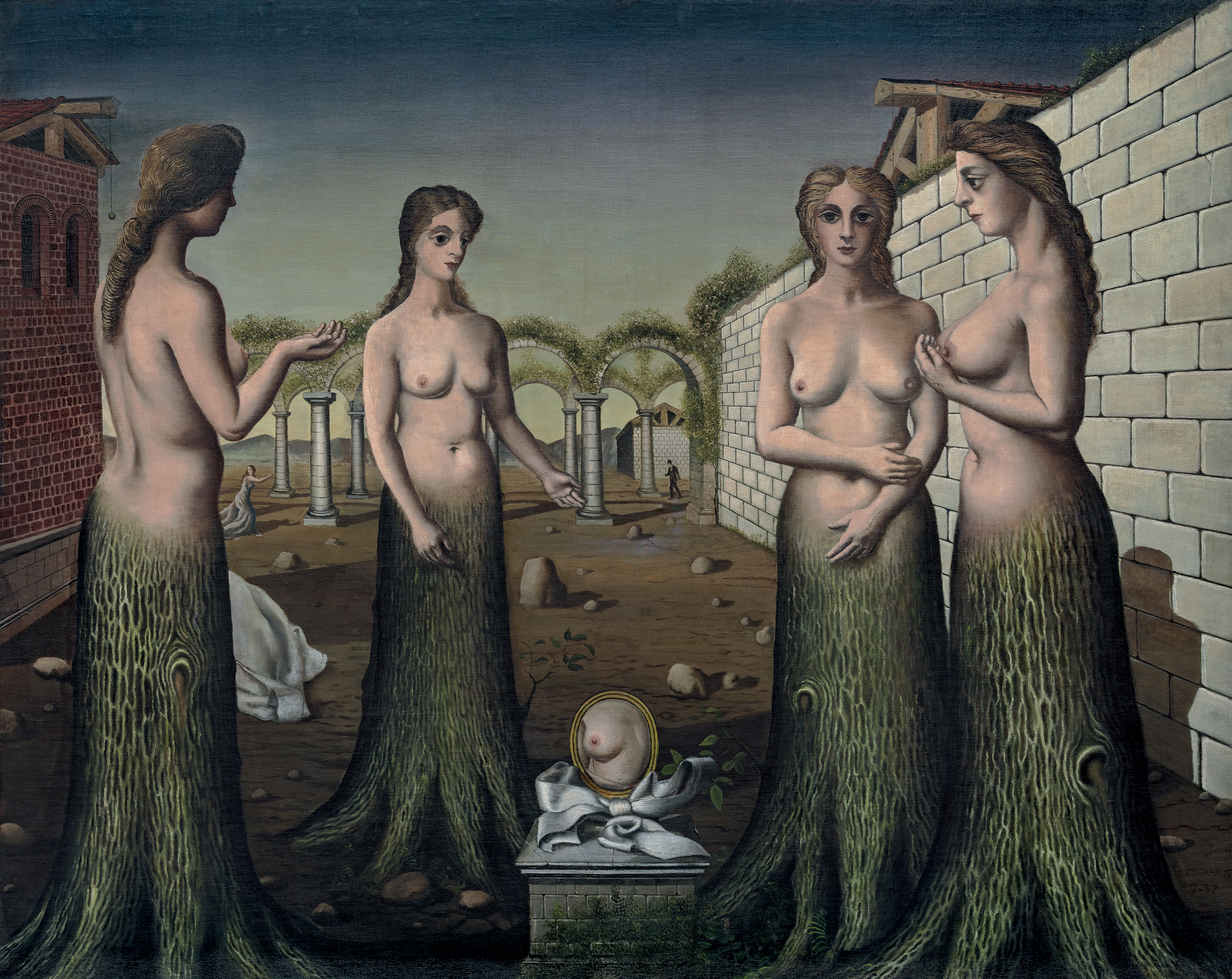 The Break of Day (L'aurore) (1937), by Paul Delvaux. Oil on canvas, 120 x 150.5 cm. Solomon R. Guggenheim Foundation, Peggy Guggenheim Collection, Venice, 1976. © 2017 Foundation Paul Delvaux, Sint-Idesbald—ARS/SABAM Belgium.