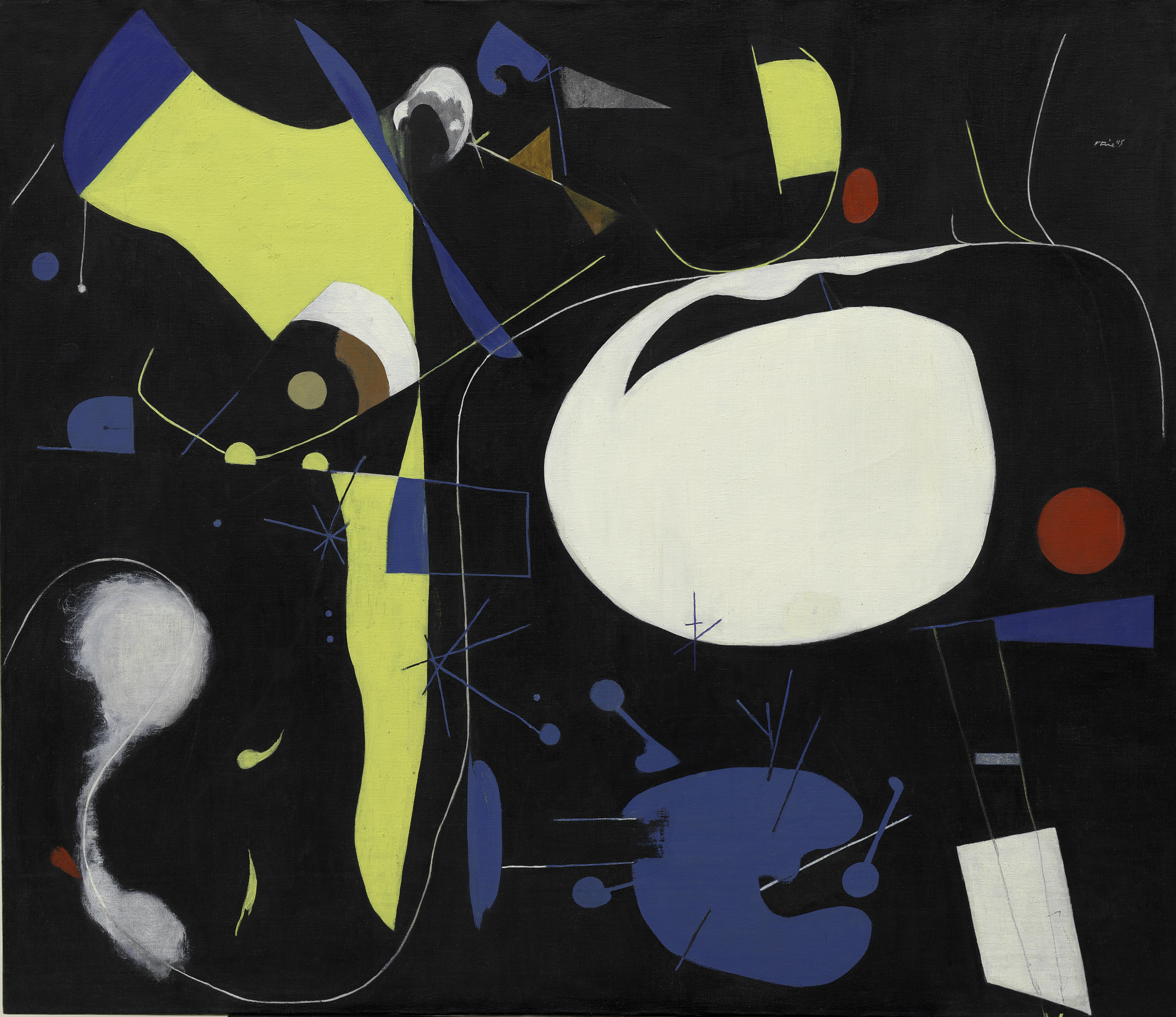 Polyphonic (1945), by Perle Fine. Oil on canvas, 96.5 x 111.8 cm. Solomon R. Guggenheim Museum, New York. © 2017 A. E. Artworks, LLC.