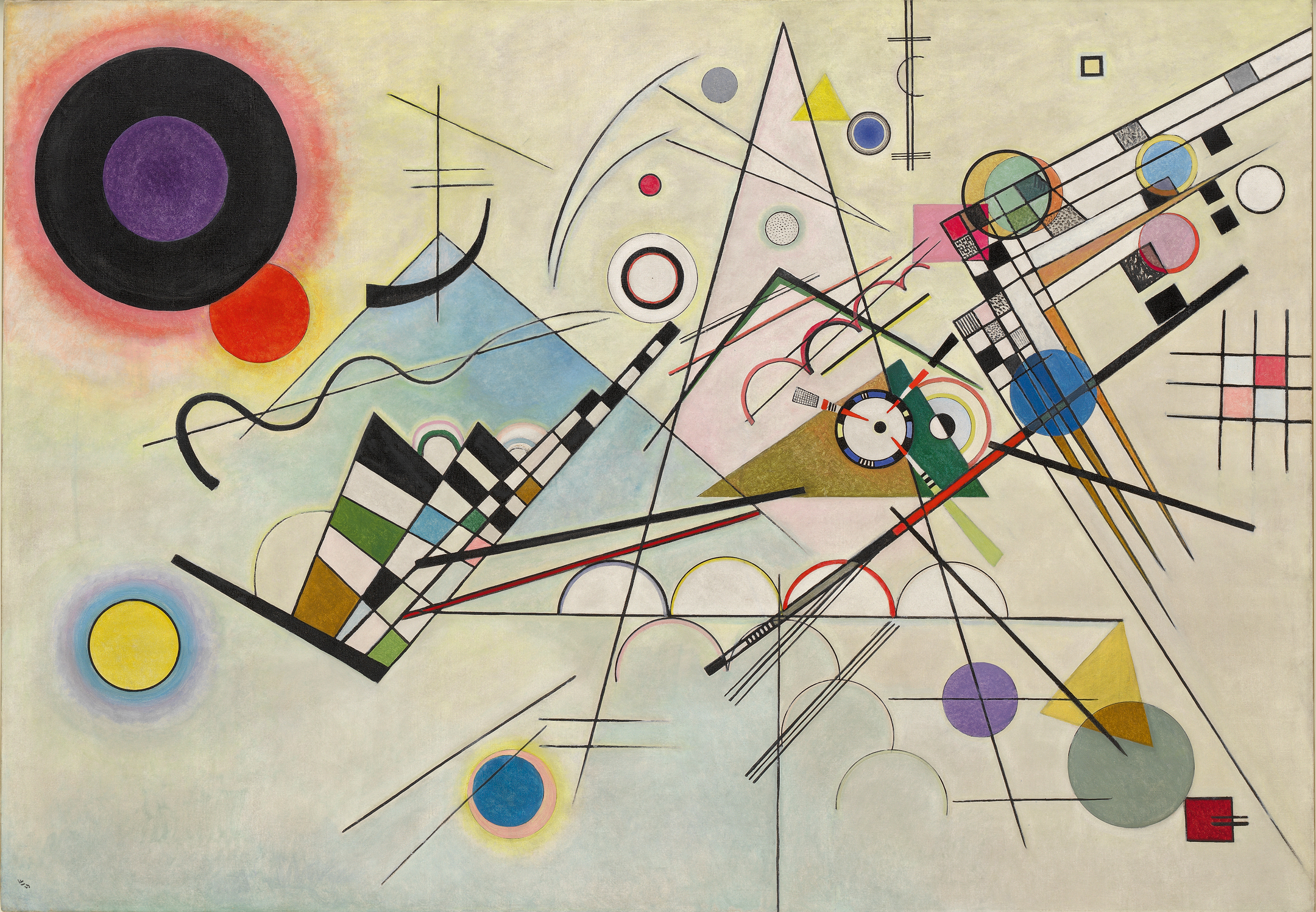 Composition 8 (1923), by Vasily Kandinsky. Oil on canvas, 140 x 201 cm. Solomon R. Guggenheim Museum, New York. © 2016 Artists Rights Society (ARS), New York/ADAGP, Paris.