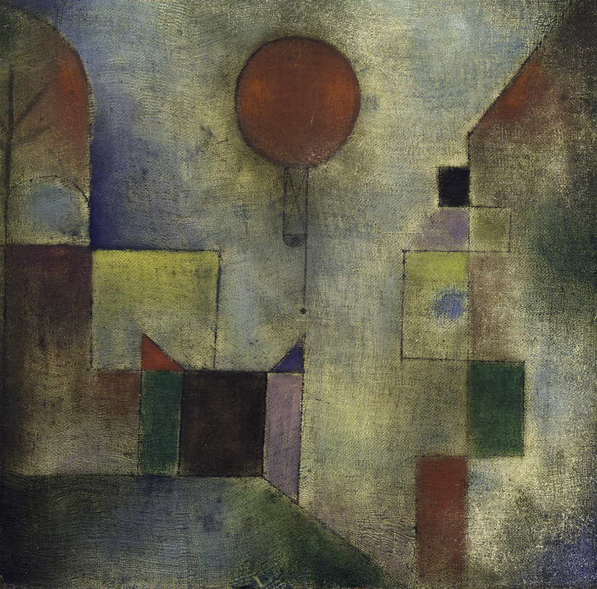 Red Balloon (1922), by Paul Klee. Oil (and oil transfer drawing?) on chalk-primed gauze, mounted on board, 31.7 x 31.1 cm. Solomon R. Guggenheim Museum, New York. © 2016 Artists Rights Society (ARS), New York/VG Bild-Kunst, Bonn.
