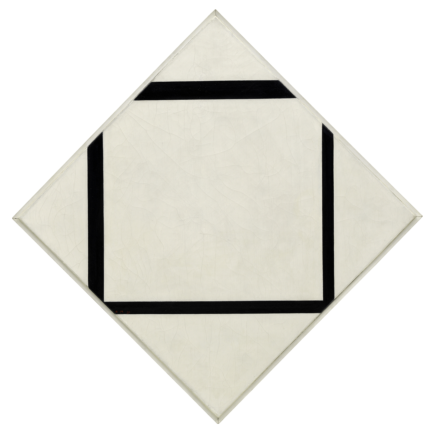 Composition No. 1: Lozenge with Four Lines (1930), by Piet Mondrian. Oil on canvas, 75.2 x 75.2 cm; vertical axis: 105 cm. Solomon R. Guggenheim Museum, New York. © 2016 Mondrian/Holtzman Trust.
