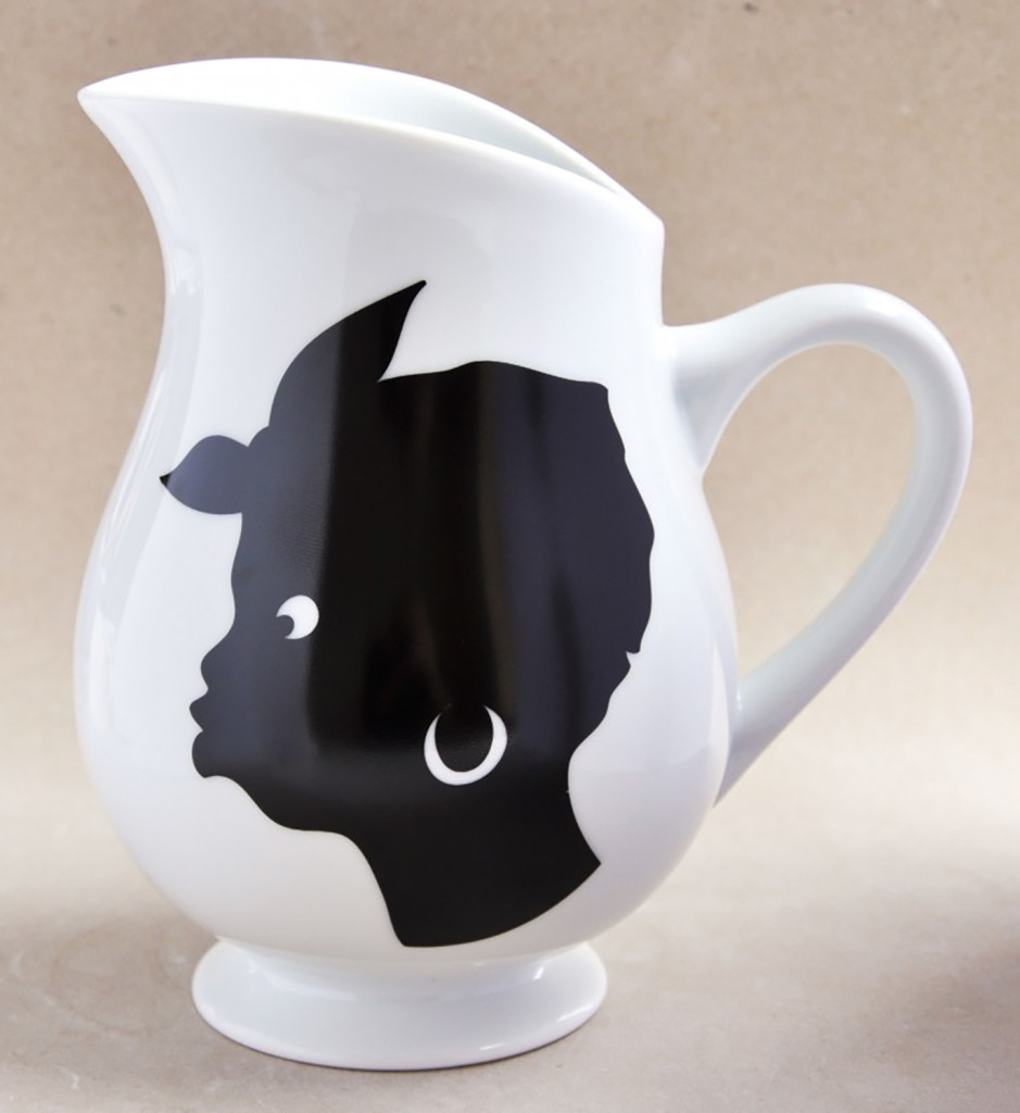 Untitled by Kara Walker (2014). Two-sided porcelain pitcher, 8 x 7 1/2 x 5 ½ inches (edition of 1,000). Courtesy Jim Kempner Fine Art.