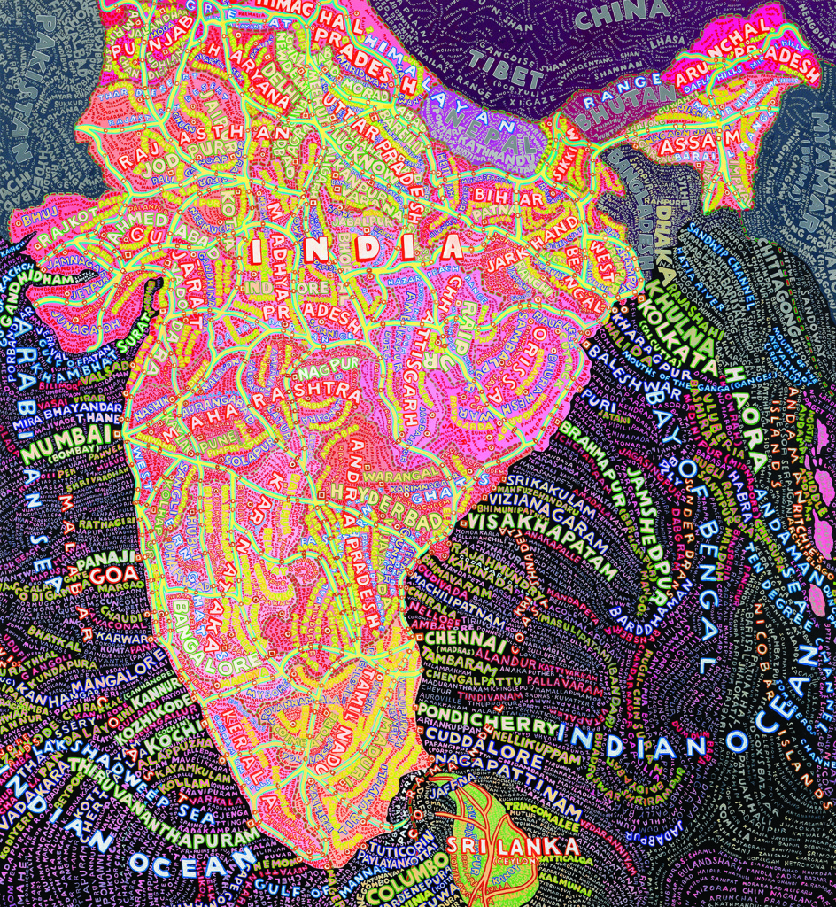 India by Paula Scher (2007). Acrylic on canvas, 98 1/2 x 91 1/2 inches. Courtesy of Jim Kempner Fine Art.