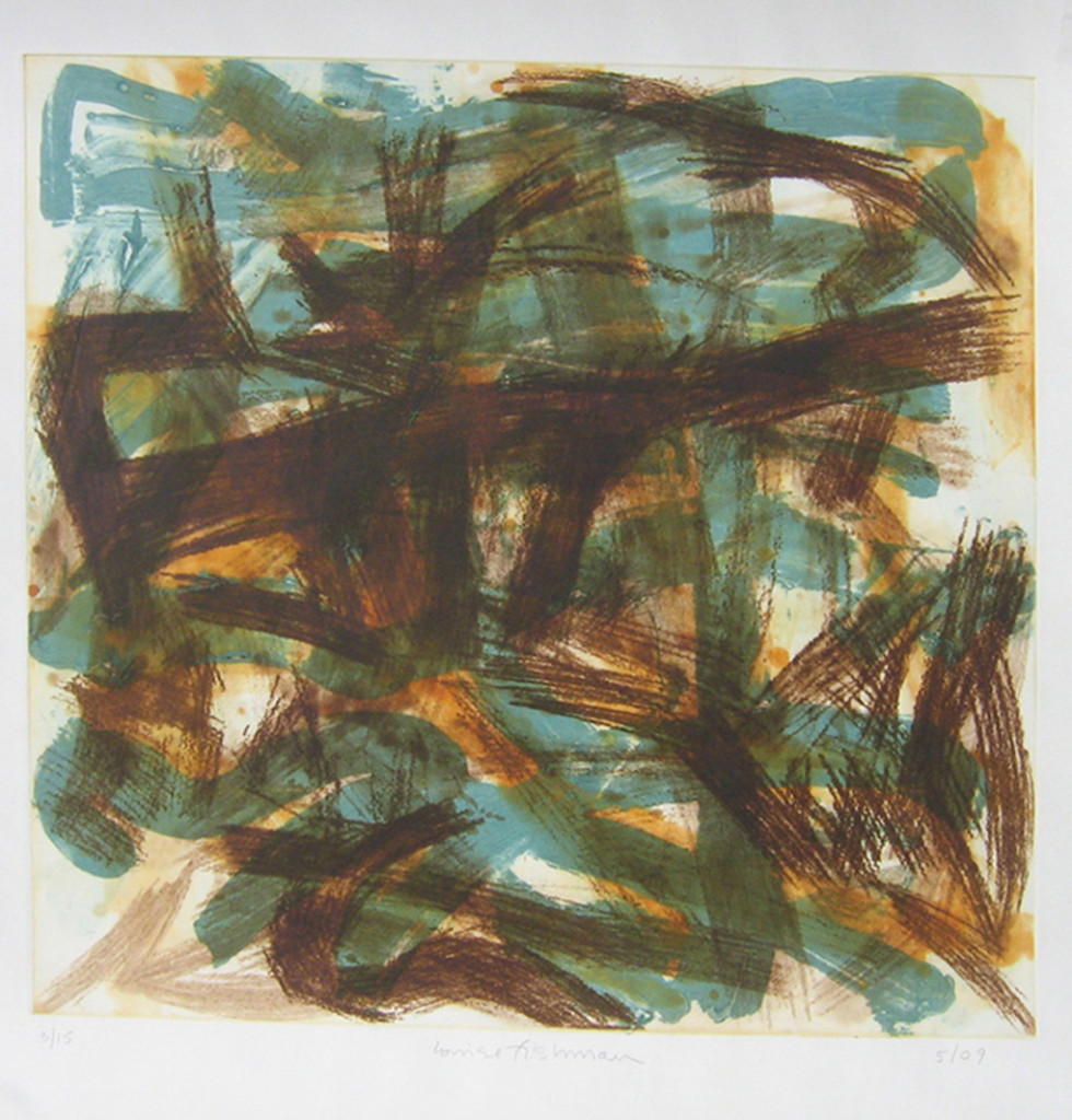 Brown on Blue by Louise Fishman (2009). Carborundum etching, 30 1/2 x 30 inches (edition of 15). Courtesy of Jim Kempner Fine Art.
