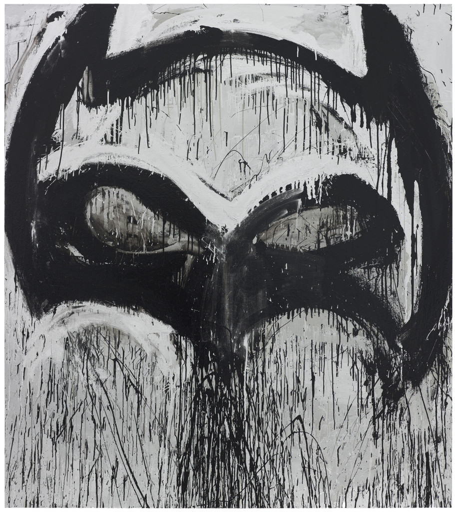 Silver Batman II by Joyce Pensato (2012). © 2012 Joyce Pensato. Photo: Nathan Keay, © MCA Chicago.