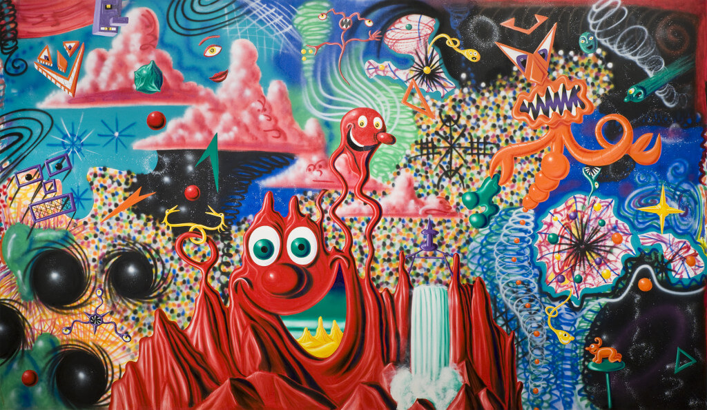 When the Worlds Collide (1984) by Kenny Scharf. Oil and spray paint on canvas 122 5/16 × 209 5/16 inches. Purchase with funds from Edward R. Downe Jr. and Eric Fischl.