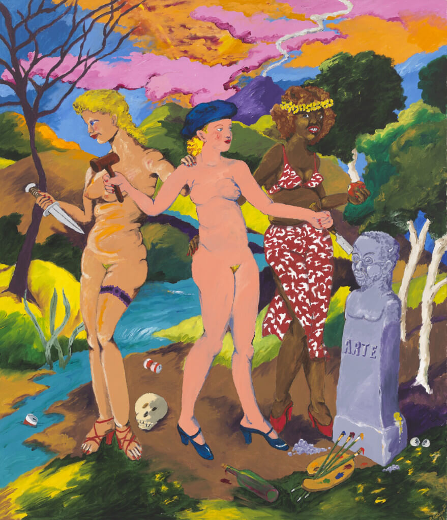The Three Graces: Art, Sex and Death (1981) by Robert Colescott. Acrylic on canvas 84 × 72 inches. Gift of Raymond J. Learsy.