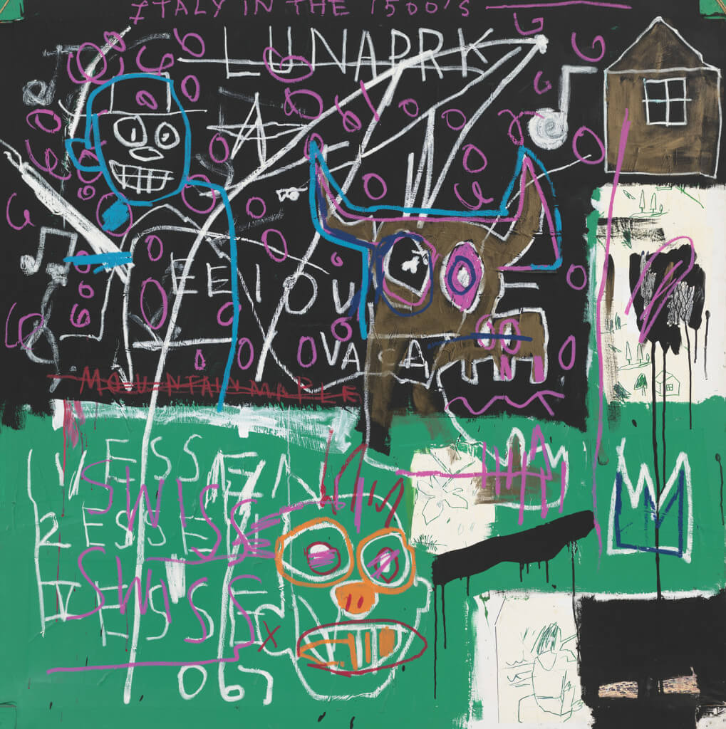 LNAPRK (1982) by Jean-Michel Basquiat. Acrylic, oil, oil stick, and fiber-tipped pen on found paper on canvas and wood, with rope 72 1/4 × 66 5/16 inches. Gift of June and Paul Schorr in honor of the 60th Anniversary of the Whitney Museum of American Art.