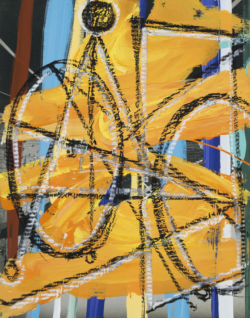 Bicycle (2016) by David Salle. Oil-stick and flashe on archival digital print, 24.5 x 19 inches. Courtesy Galerie Thaddaeus Ropac © David Salle, licensed by Vaga, New York, 2017 Photo: John Berens Photography, New York.