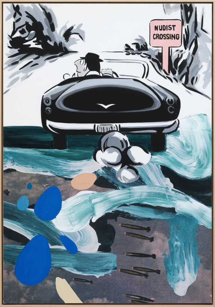 Crossing (2016) by David Salle. Flashe, acrylic and archival printed mounted on linen, 65 x 45 inches. Courtesy Galerie Thaddaeus Ropac © David Salle, licensed by Vaga, New York, 2017 Photo: Charles Duprat, Paris.