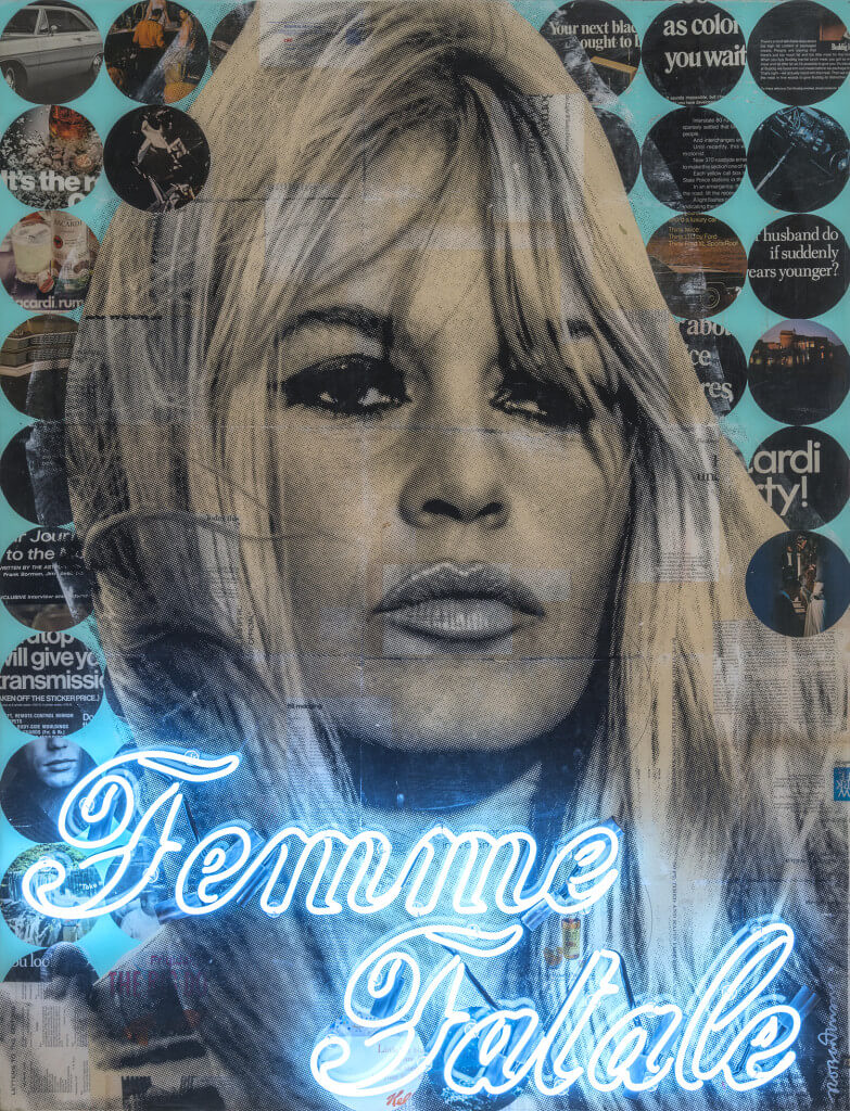 Femme Fatale by Robert Mars. Mixed media on wood panel with epoxy resin with neon tubing, 52 x 40 inches. Courtesy of JoAnne Artman Gallery.