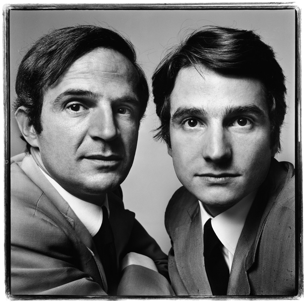 François Truffaut and Jean-Pierre Léaud, film director and actor, Paris, June 20, 1971.  Photograph by Richard Avedon © The Richard Avedon Foundation.