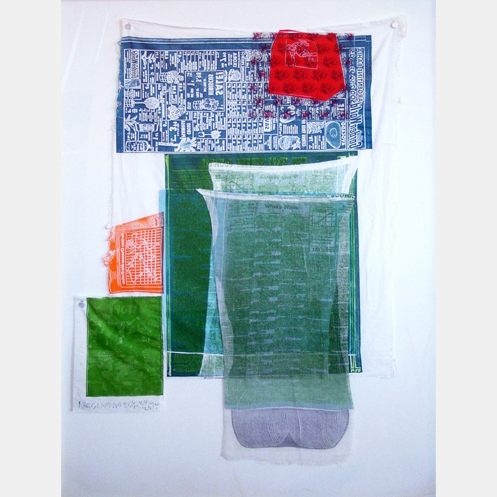 """Platter (from AIRPORT SERIES), (1974). Relief and intaglio on fabric. 45 x 29"""". Edition 20."""