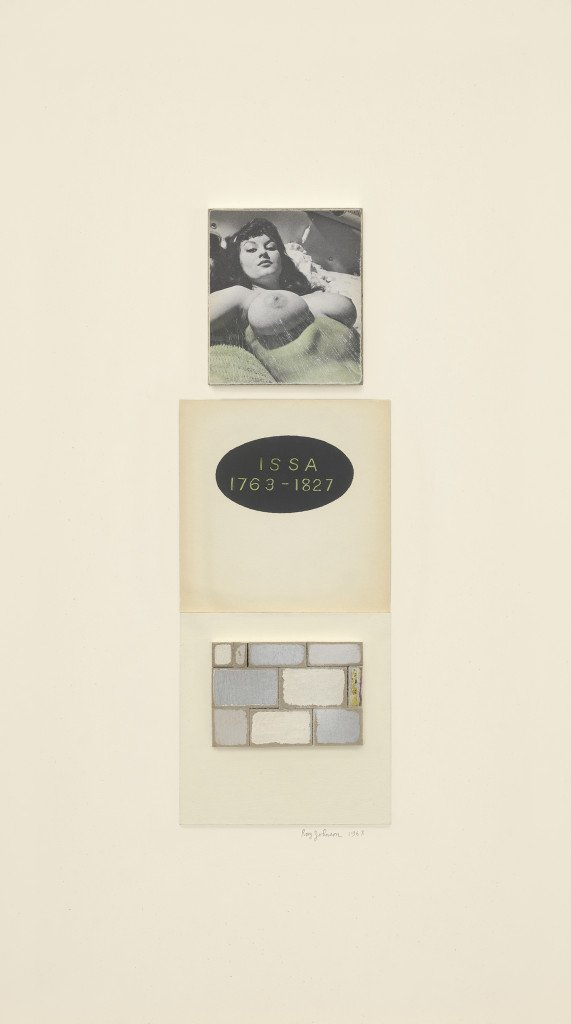 Issa, (1968). Ink and collage on board in artist's frame, 19 7/8 x 11 1/2 x 1 3/8 inches. © The Estate of Ray Johnson.