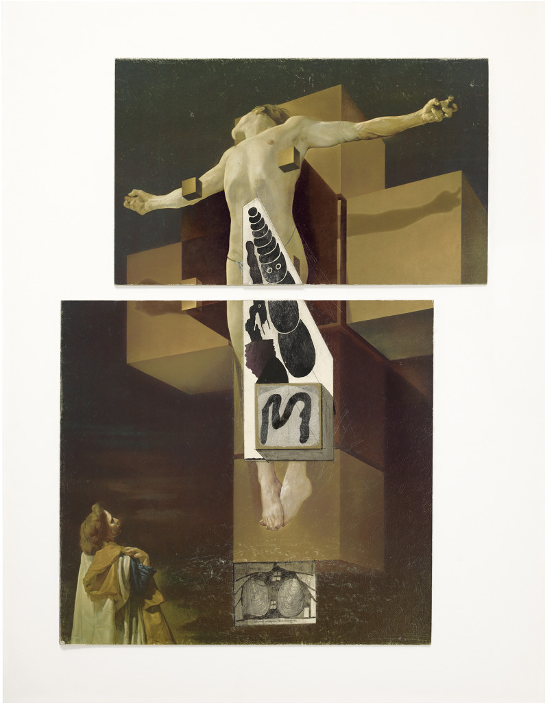Untitled (Dali/Buddha), (c. 1977-80). Ink and collage on board, 20 1/2 x 15 inches. © The Estate of Ray Johnson.