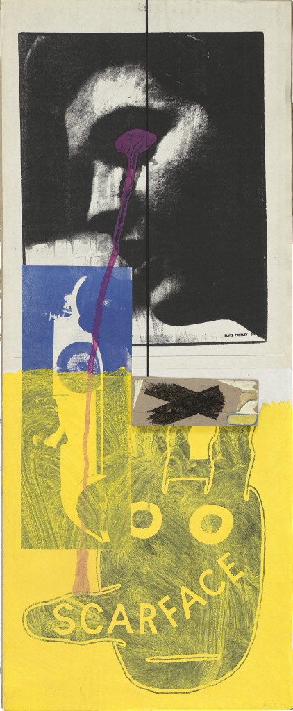 Untitled (Elvis with Scarface Bunny), (1993). Ink and collage on board, 21 x 8 1/2 inches. © The Estate of Ray Johnson.